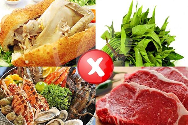 thức ăn ảnh hưởng đến vết thương, dễ khiến vết thương bị nhiễm trùng, mưng mủ, sẽ để lại sẹo xấu