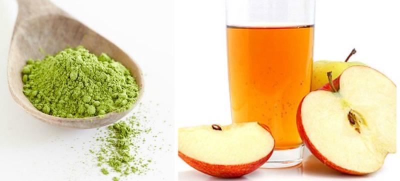 trà xanh và giấm táo