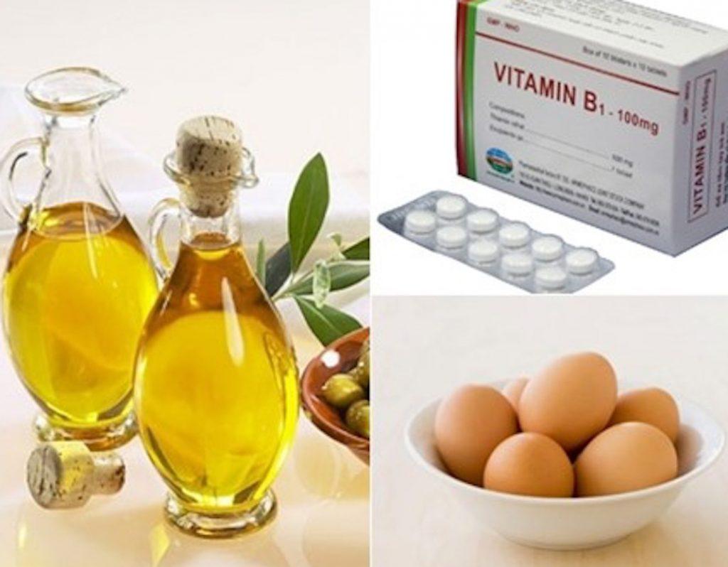 b1 trứng gà và oliu