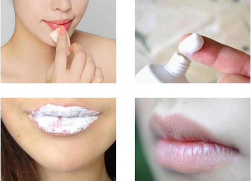 trị thâm môi bằng kem đánh răng
