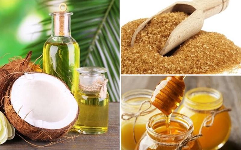 dầu dừa, mật ong, đường nâu