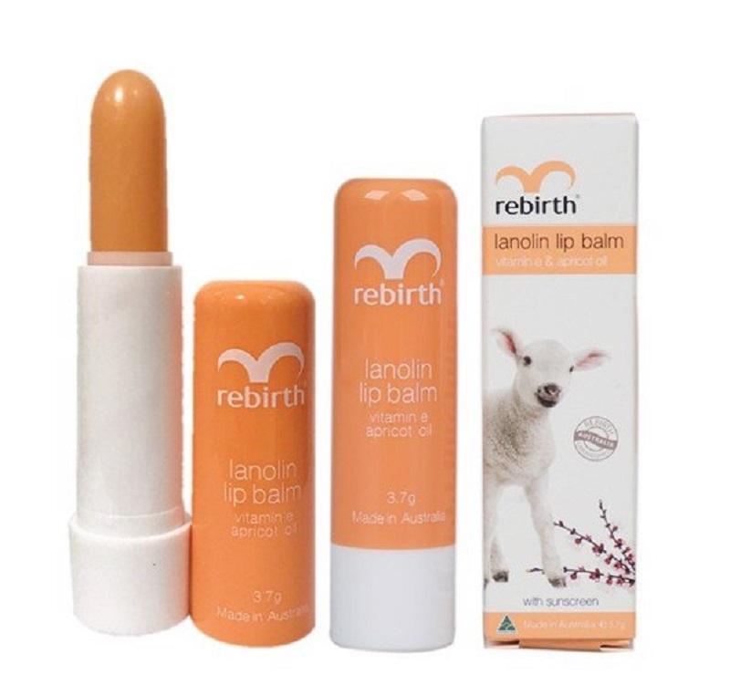 Son dưỡng môi trị thâm Lanolin Lip Balm Vitamin E & Apricot Oil Rebirth RB14